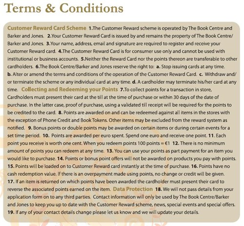 Terms & Conditions Rewards Card